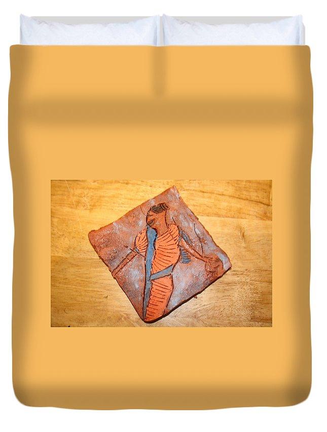 Jesus Duvet Cover featuring the ceramic art Mum 4 - Tile by Gloria Ssali