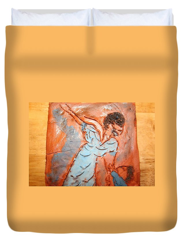 Jesus Duvet Cover featuring the ceramic art Mum 7 - Tile by Gloria Ssali