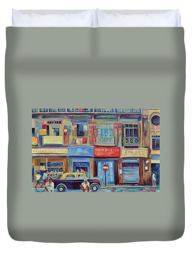 Mumbai Shops Duvet Cover featuring the painting Mumbai Business District by Ginger Concepcion