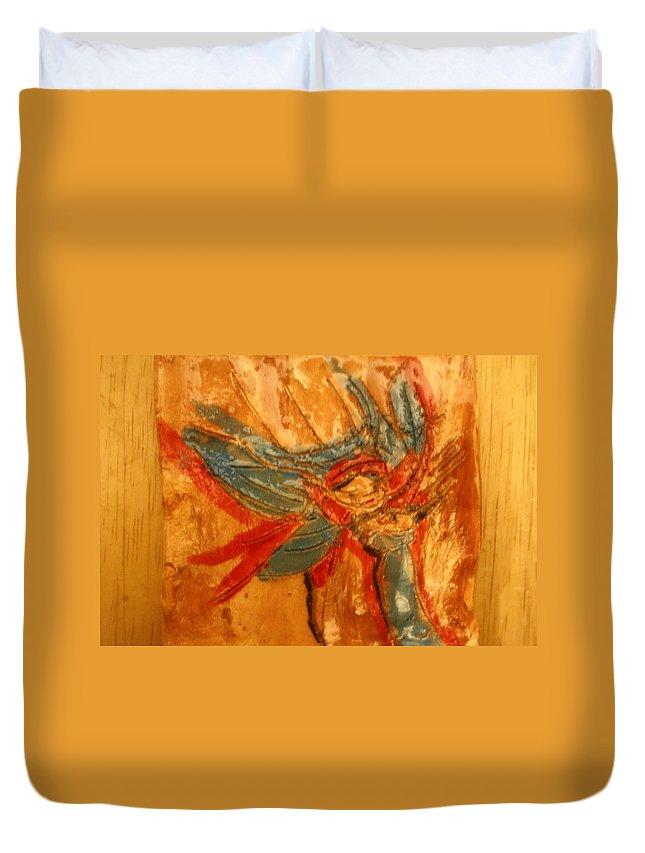 Jesus Duvet Cover featuring the ceramic art Mums Little Cygnet - Tile by Gloria Ssali