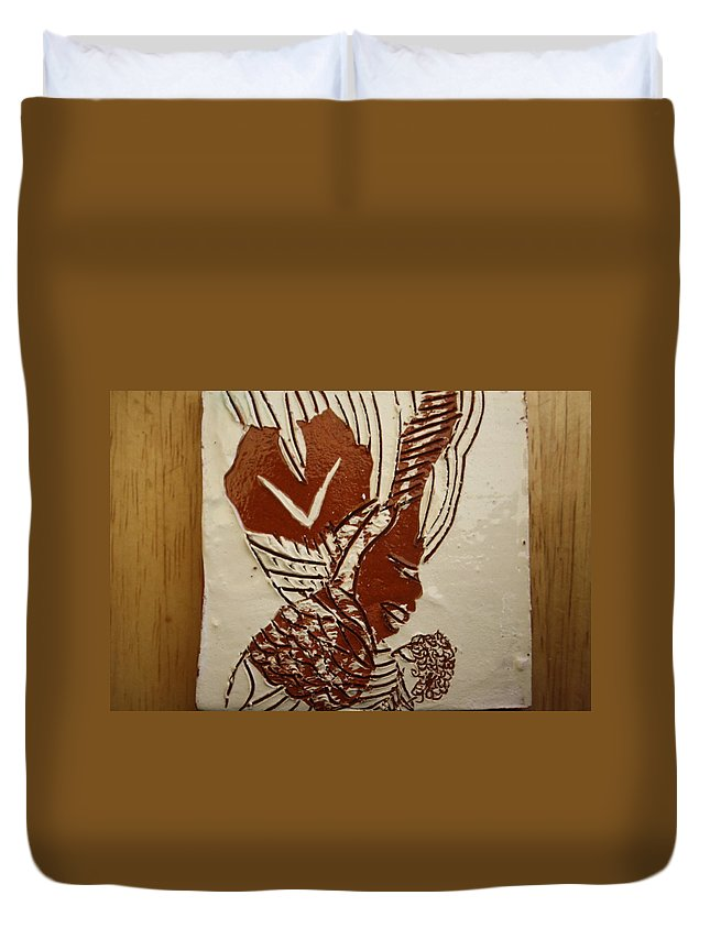 Jesus Duvet Cover featuring the ceramic art Mums Looking - Tile by Gloria Ssali