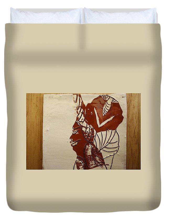 Jesus Duvet Cover featuring the ceramic art Mums Love - Tile by Gloria Ssali