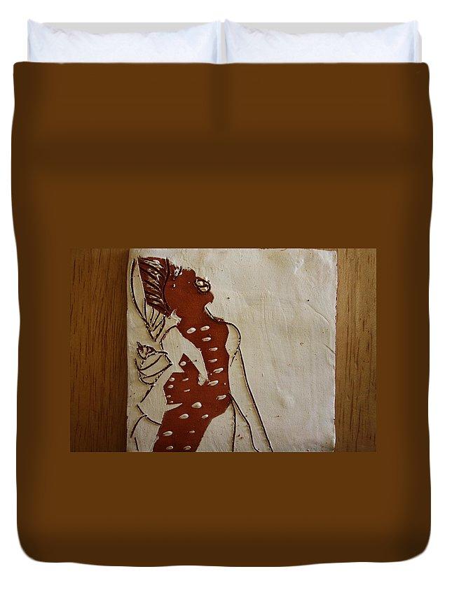Jesus Duvet Cover featuring the ceramic art Mums Parcel - Tile by Gloria Ssali