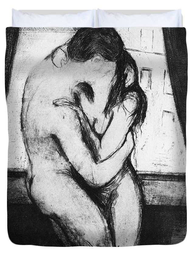 1895 Duvet Cover featuring the photograph The Kiss, 1895 by Edvard Munch