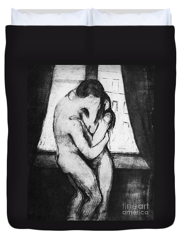 1895 Duvet Cover featuring the photograph Munch The Kiss, 1895 - To License For Professional Use Visit Granger.com by Granger