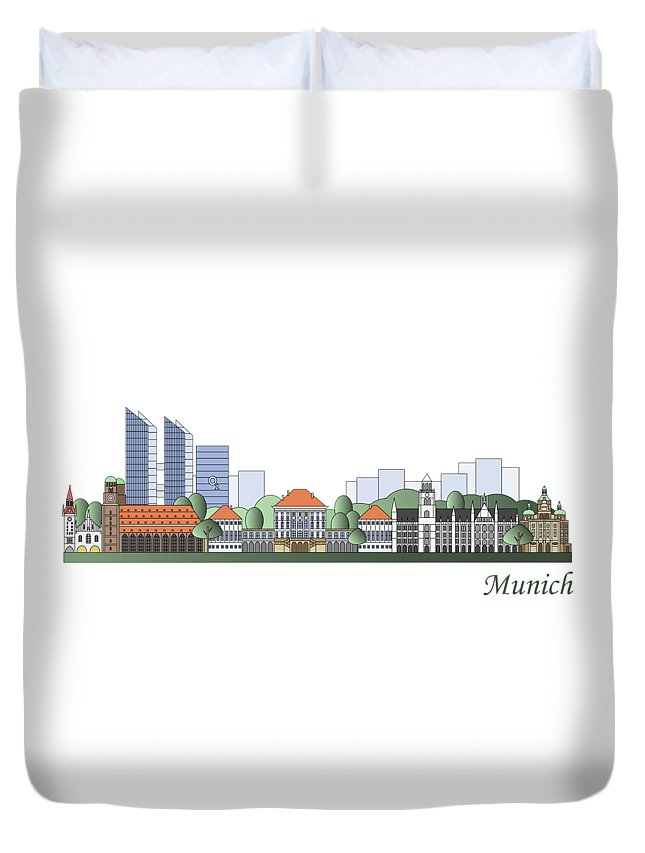 Munich Duvet Cover featuring the painting Munich Skyline Colored by Pablo Romero
