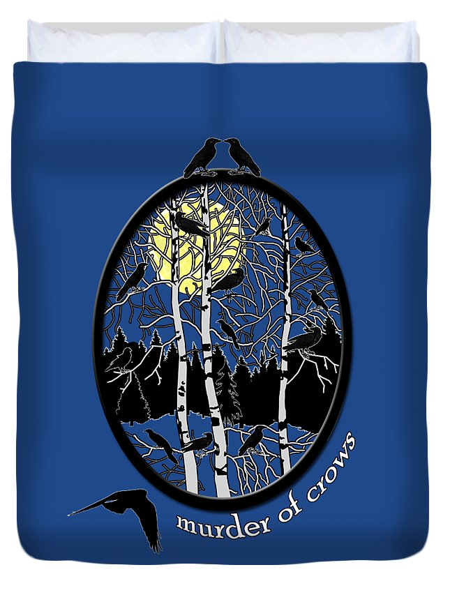 Murder Of Crows Duvet Cover featuring the digital art Murder Of Crows by Methune Hively