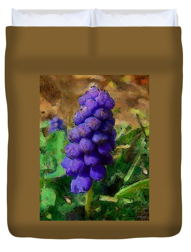 Grape Duvet Cover featuring the photograph Muscari by Dee Flouton