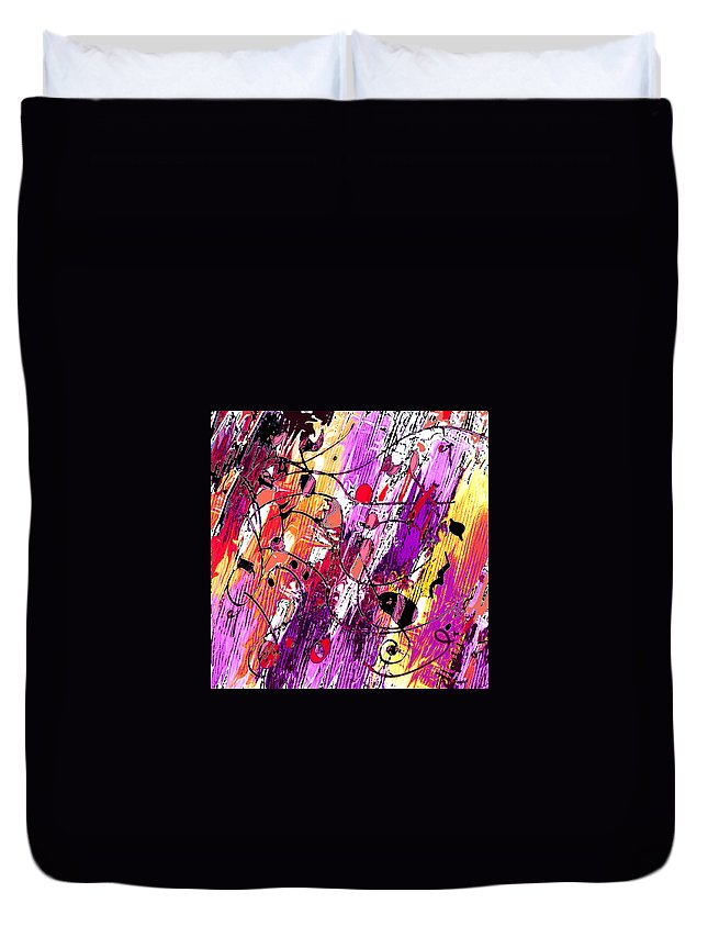 Abstract Duvet Cover featuring the digital art Muse Fragments by Rachel Christine Nowicki