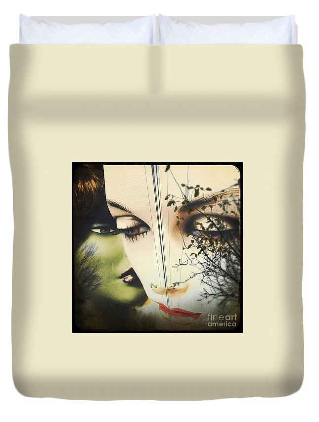 Collage Duvet Cover featuring the pyrography Muses by Colleen VT