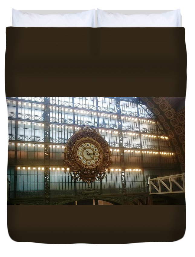 Museum Duvet Cover featuring the photograph Museum D'orsay Clock by Valerie Ornstein