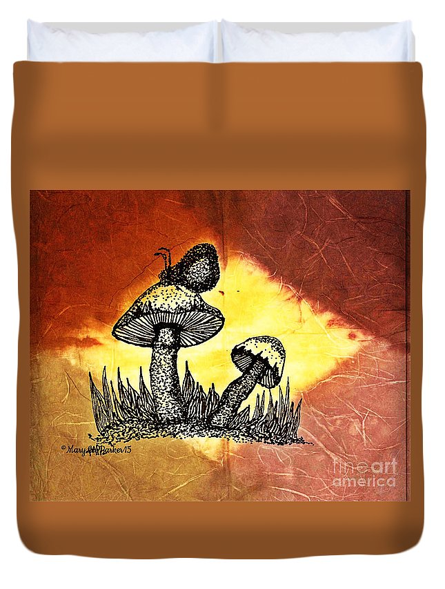 Mushroom Duvet Cover featuring the mixed media Mushroom And Butterfly by MaryLee Parker
