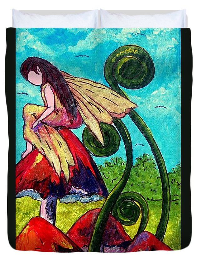 Nature Duvet Cover featuring the painting Mushroom Fairy 3 by Tami Booher