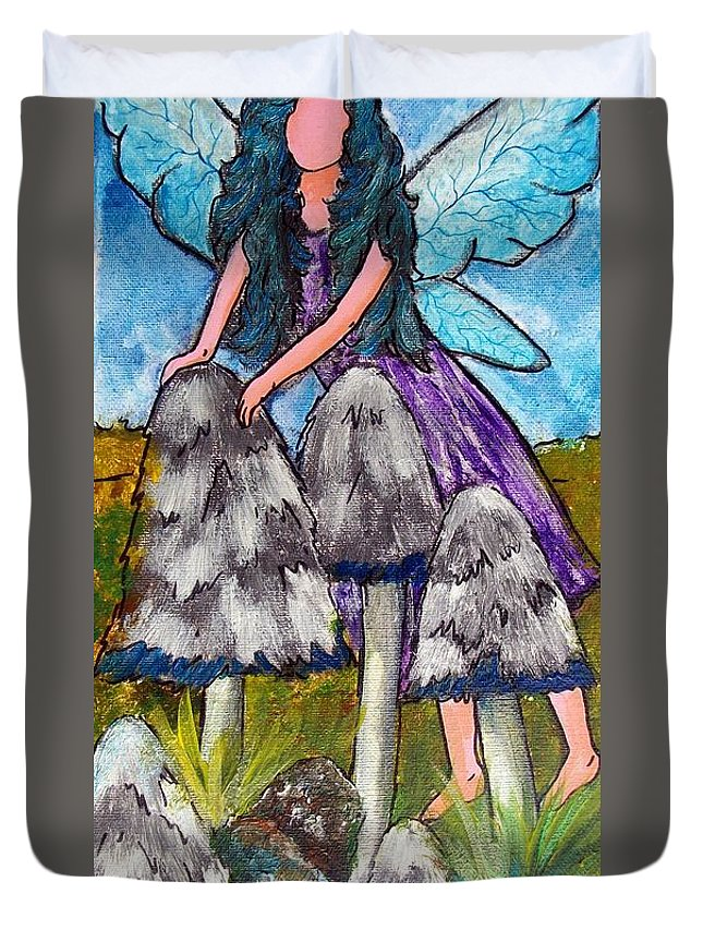 Fairy Duvet Cover featuring the painting Mushroom Fairy #4 by Tami Booher
