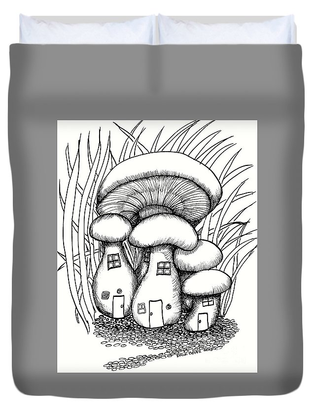 #dawndboyer Duvet Cover featuring the drawing Mushroom Fairy Houses And Grass by Dawn Boyer