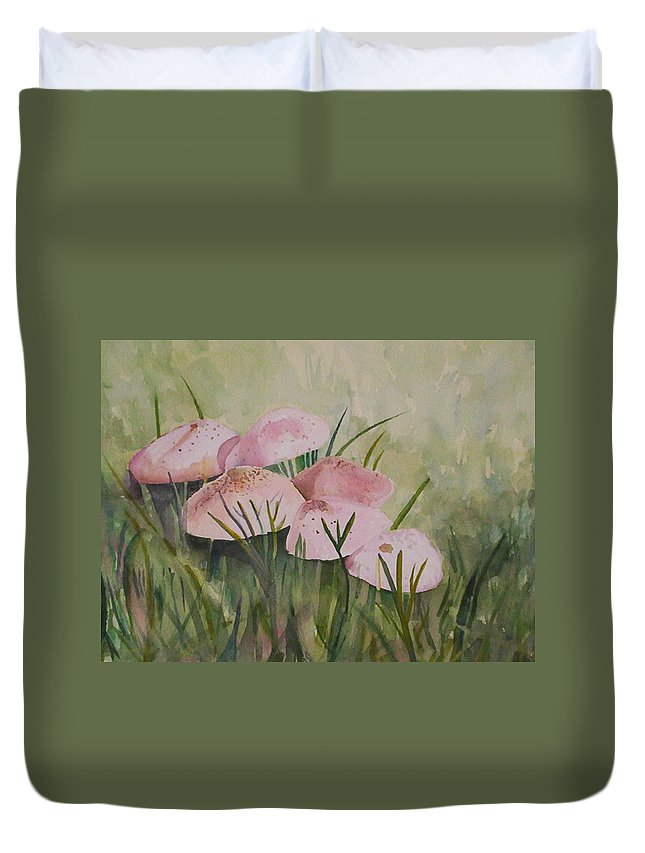 Landscape Duvet Cover featuring the painting Mushrooms by Suzanne Udell Levinger