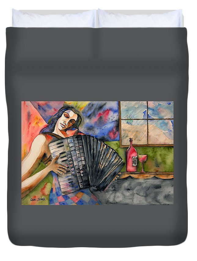Music Duvet Cover featuring the painting Music And Wine by Guri Stark