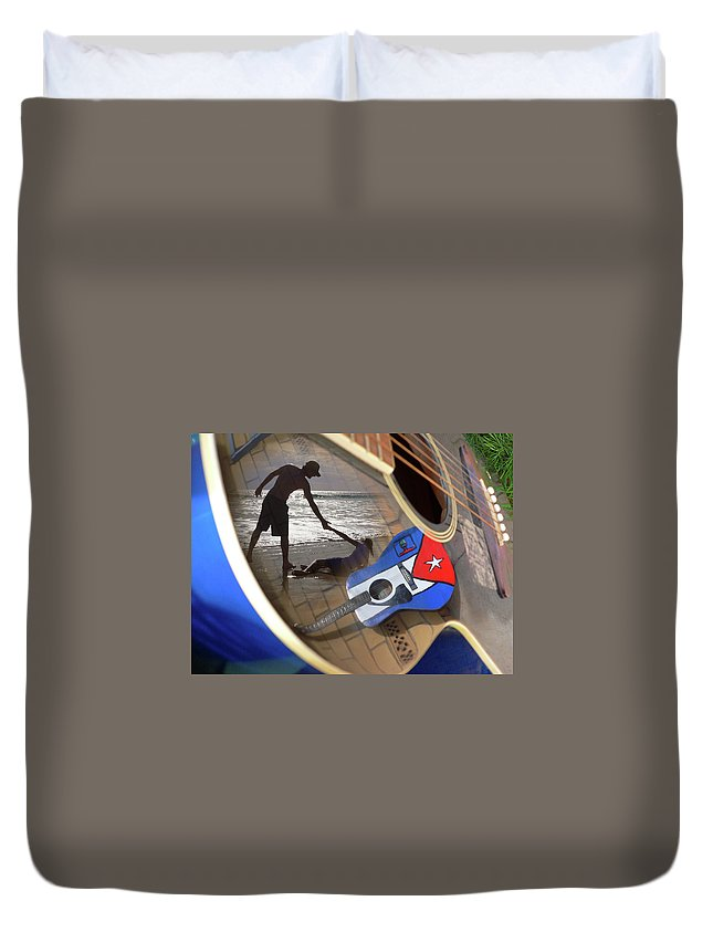 Music Duvet Cover featuring the photograph Music By The Sea by Kelly Jade King