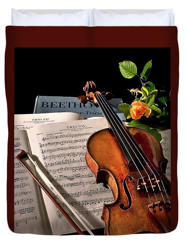 Strad Duvet Cover featuring the photograph Music Is A Moral Law by Endre Balogh
