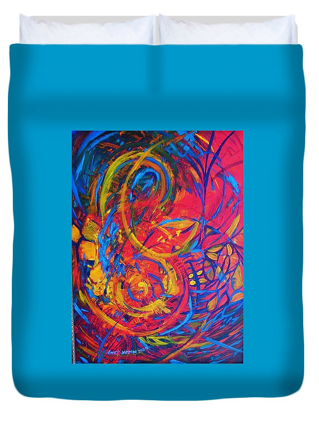 Abstract Duvet Cover featuring the painting Music by Jeanette Jarmon