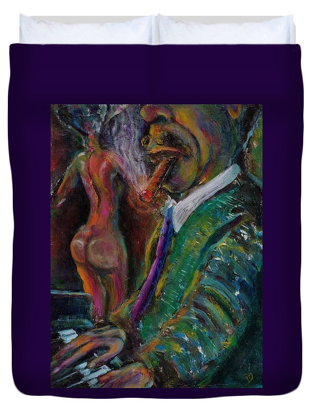 Man Duvet Cover featuring the painting Music Lover And A Fine Cigar by Dennis Tawes