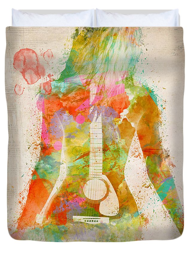 Guitar Duvet Cover featuring the digital art Music Was My First Love by Nikki Marie Smith