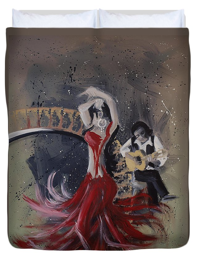 Dance Duvet Cover featuring the painting Musica Espaniol by Kelly Jade King