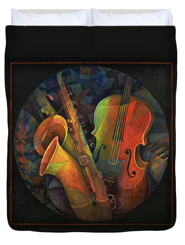 Susanne Clark Duvet Cover featuring the painting Musical Mandala - Features Cello And Sax's by Susanne Clark