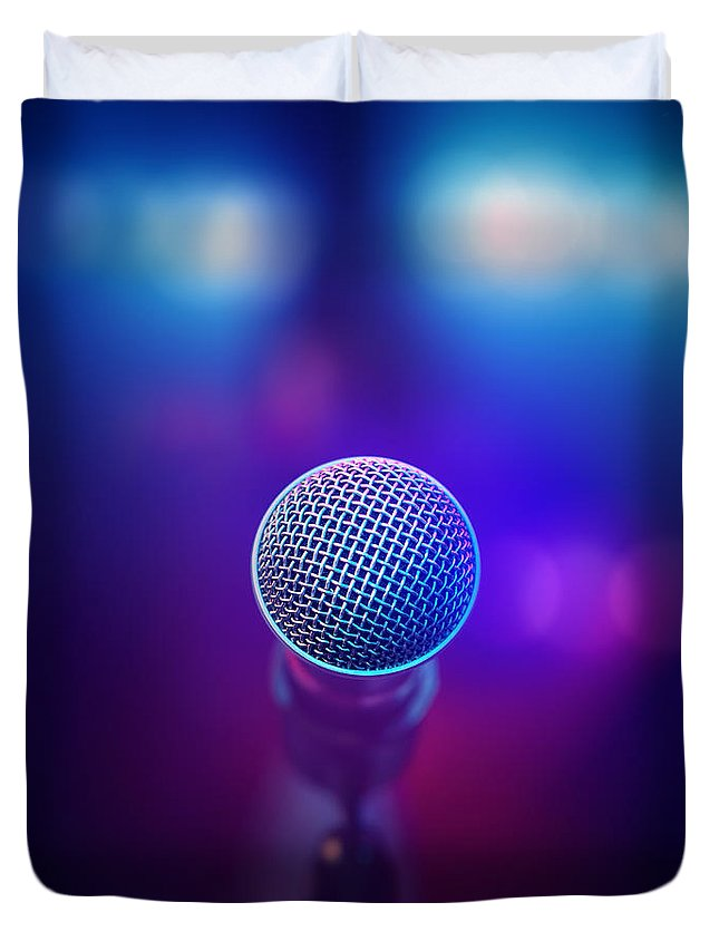 Microphone Duvet Cover featuring the photograph Musical Microphone On Stage by Johan Swanepoel