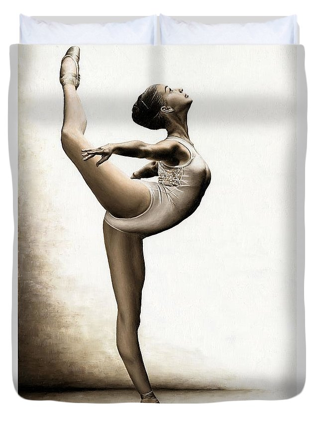 Dance Duvet Cover featuring the painting Musing Dancer by Richard Young