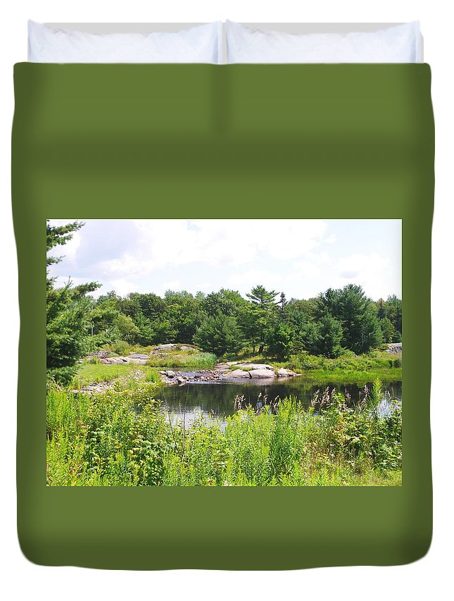 Nature Duvet Cover featuring the photograph Muskoka Scene by Peggy King