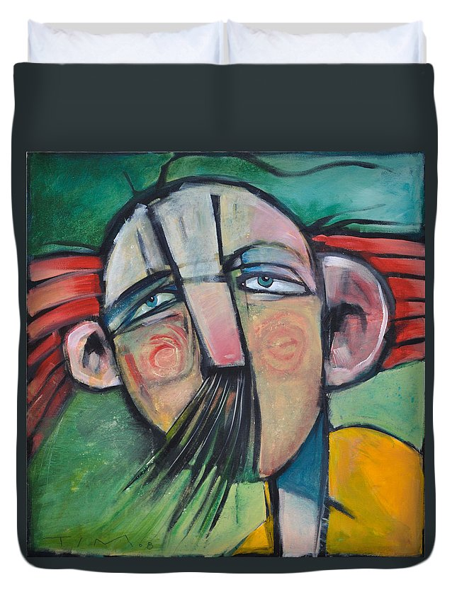 Humor Duvet Cover featuring the painting Mustached Man In Wind by Tim Nyberg