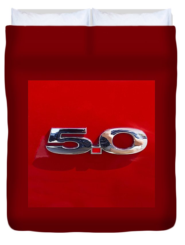 Car Emblem Duvet Cover featuring the photograph Mustang 5 0 by J Darrell Hutto