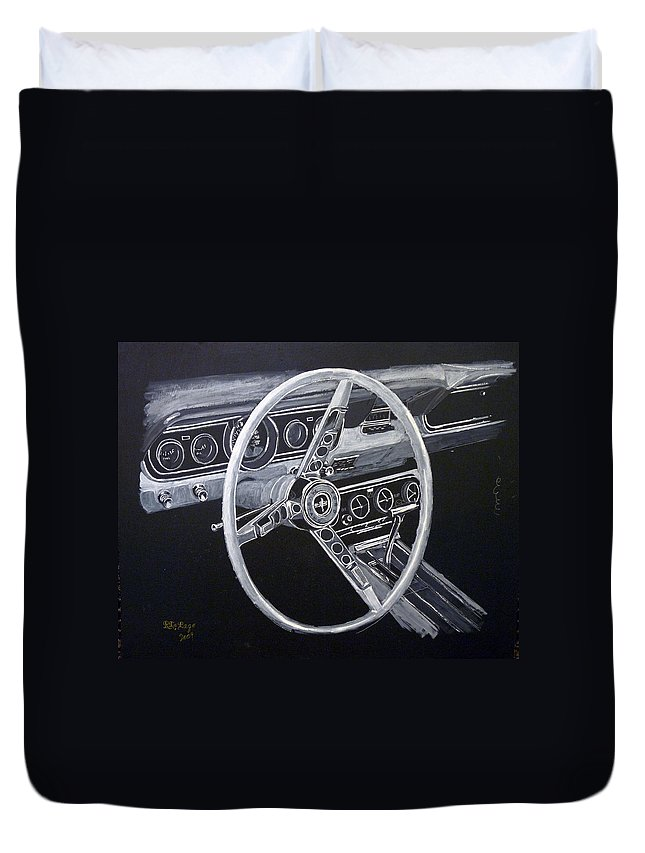 Mustang Duvet Cover featuring the painting Mustang Dash by Richard Le Page