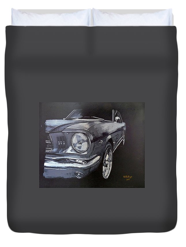Mustang Duvet Cover featuring the painting Mustang Front by Richard Le Page