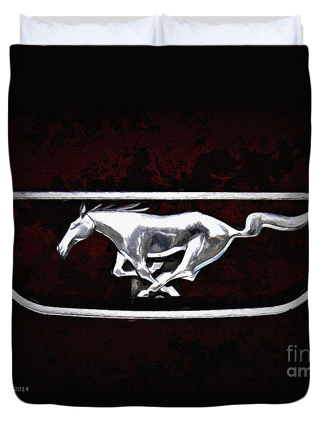Mustang Duvet Cover featuring the digital art Mustang Pony Logo by Tommy Anderson