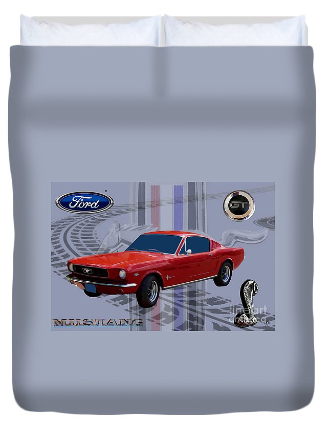 Ford Duvet Cover featuring the digital art Mustang Poster by Tommy Anderson
