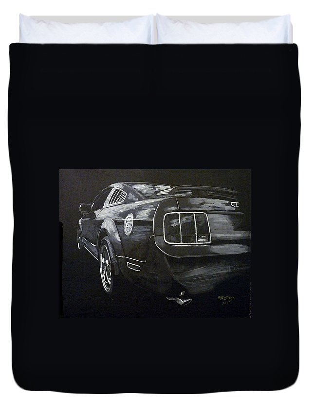 Ford Duvet Cover featuring the painting Mustang Rear by Richard Le Page