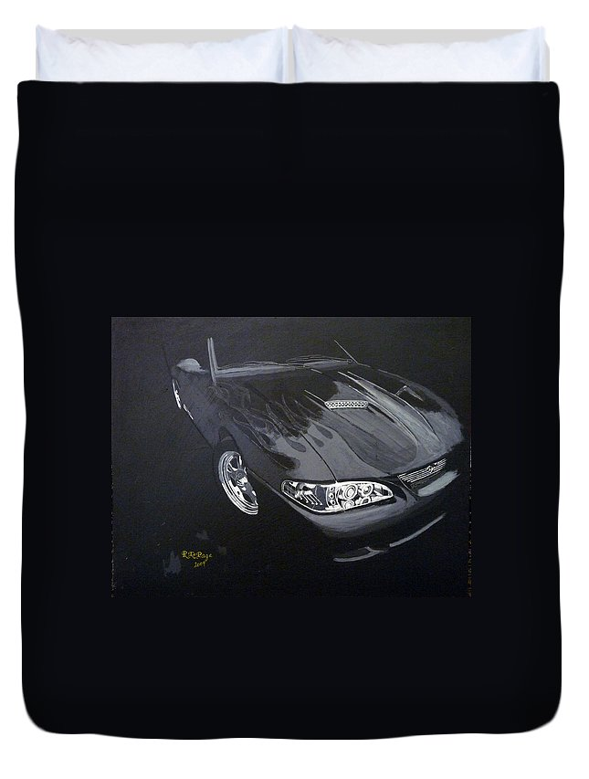 Mustang Duvet Cover featuring the painting Mustang With Flames by Richard Le Page