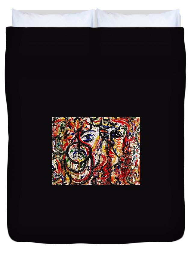 Free Expressionism Duvet Cover featuring the painting Mutual Admiration by Natalie Holland