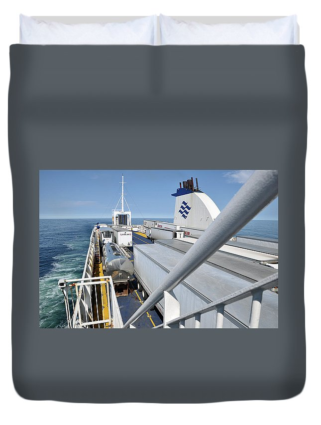 Ferry Duvet Cover featuring the photograph Mv Highlanders by Colleen English