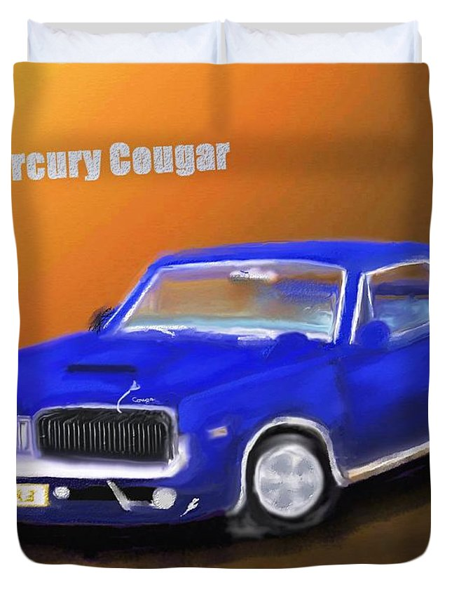 Automobile Duvet Cover featuring the painting My 1967 Cougar by Robert Rearick