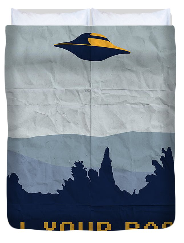 Classic Duvet Cover featuring the digital art My All Your Base Are Belong To Us Meets X-files I Want To Believe Poster by Chungkong Art