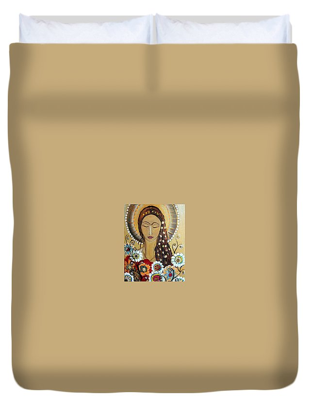 Art Duvet Cover featuring the painting My Angel Modern Icon by Luiza Vizoli