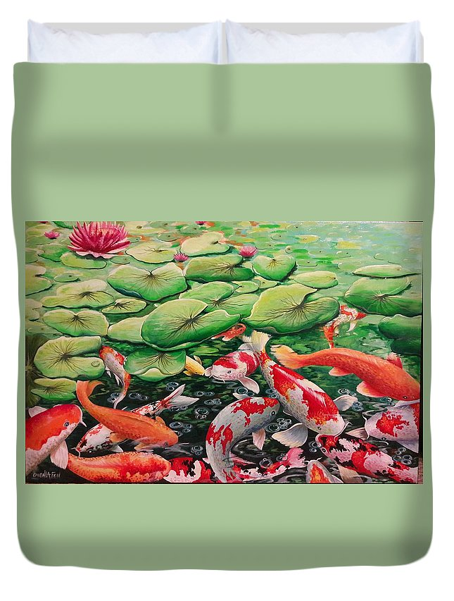 Fish Duvet Cover featuring the painting My Backyard Pond by Owen Lafon