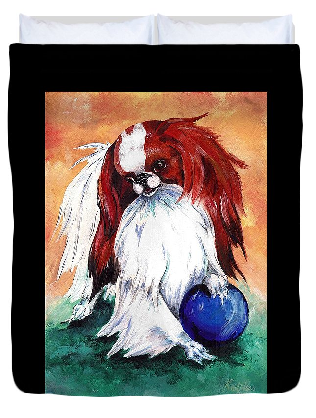 Japanese Chin Duvet Cover featuring the painting My Ball by Kathleen Sepulveda