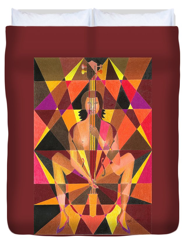 Jazz Duvet Cover featuring the painting My Bass by James Mingo