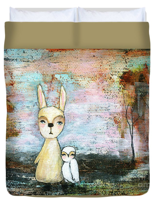 Abstract Art Duvet Cover featuring the painting My Best Friend Baby Rabbit Baby Owl Abstract Art by Itaya Lightbourne