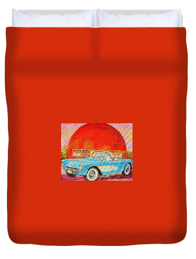 Montreal Duvet Cover featuring the painting My Blue Corvette at the Orange Julep by Carole Spandau