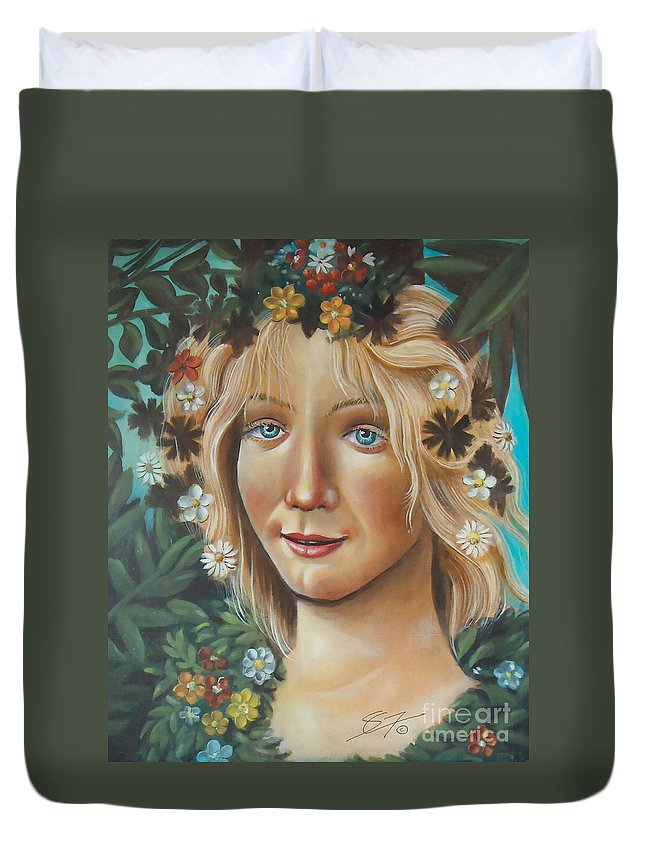 Beautiful Duvet Cover featuring the painting My Botticelli by Artist ForYou